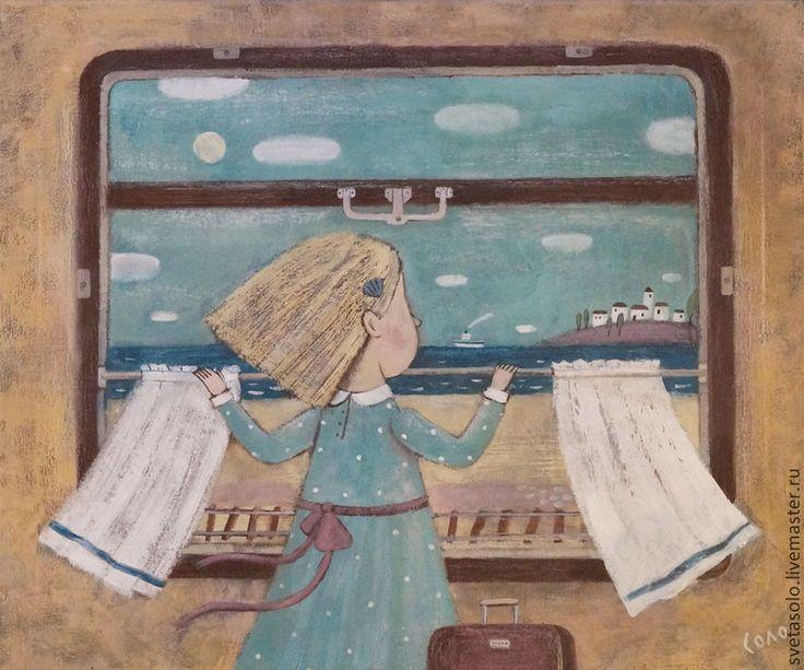 Купить Еду к морю! - бежевый, море, лето, поезд, окно, облака, город, чемодан