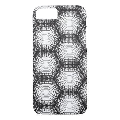 black hexagon pattern iPhone 8/7 case - black gifts unique cool diy customize personalize