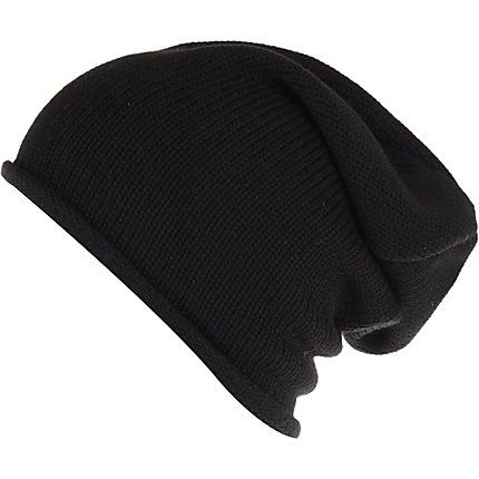 Black knitted slouchy beanie hat £10.00