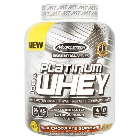 MuscleTech Essential Series Platinum 100% Whey Protein Isolate & Peptides Milk Chocolate Supreme Dietary Supplement Powder, 5.03 lbs, Brown