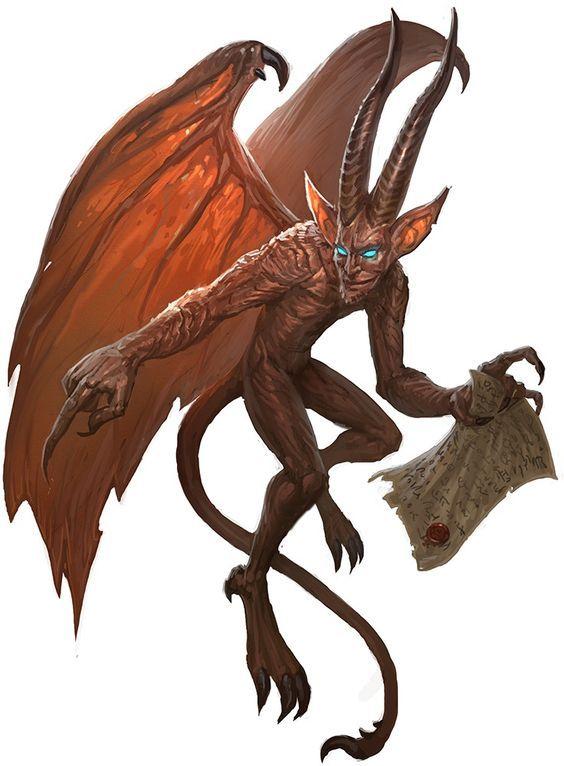 Diabrete - Um pequeno humanoide, com asas coriáceas de morcego, cauda farpada e chifres pontiagudos e retorcidos paira à altura dos olhos, surgindo do nada. Em sua forma natural, um diabrete tem cerca de 60 cm de altura e pesa em torno de 4 kg.