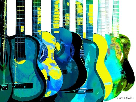 CHOOSE A COLOR Guitar Art Giclee Print Wall by GrayWolfGallery, $25.00
