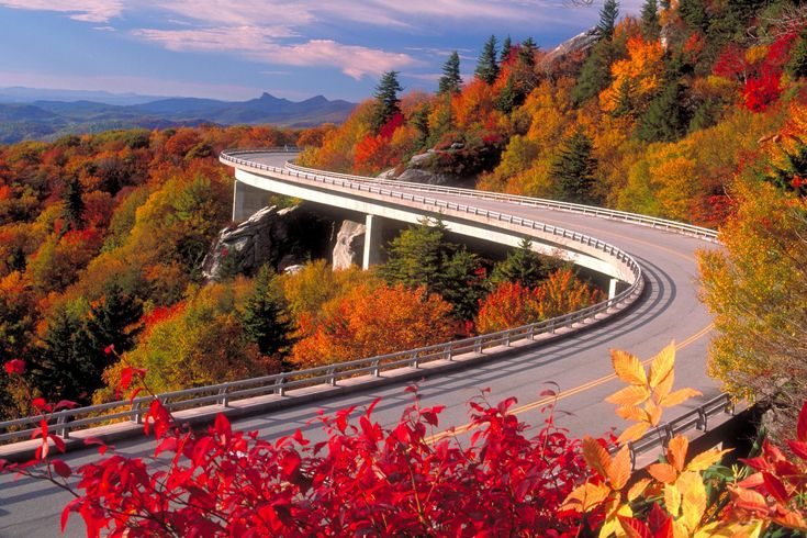 Take a road trip on the Blue Ridge Parkway. It runs for 469 miles through Virginia and North Carolina, mostly along the Blue Ridge Mountains, a major mountain chain that is part of the Appalachian Mountains.