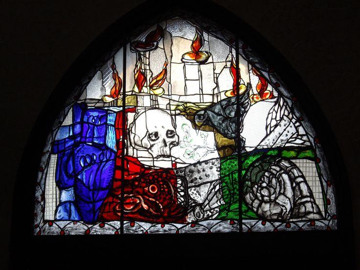 Stained glass window from de Totentanz Kapelle (Death Dance Chapel) in de Marienkirche, Lubeck_ Germany