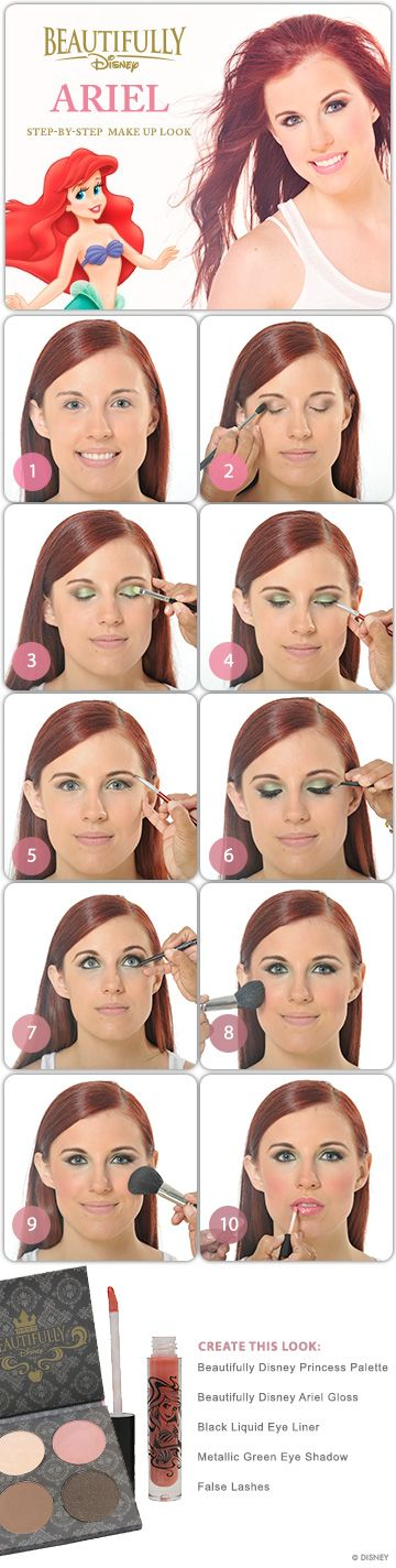Ariel Step-by-Steo Makeup Tutorial #TheLittleMermaid #DIY #Tutorial #Makeup #Tip #WaltDisneyWorld