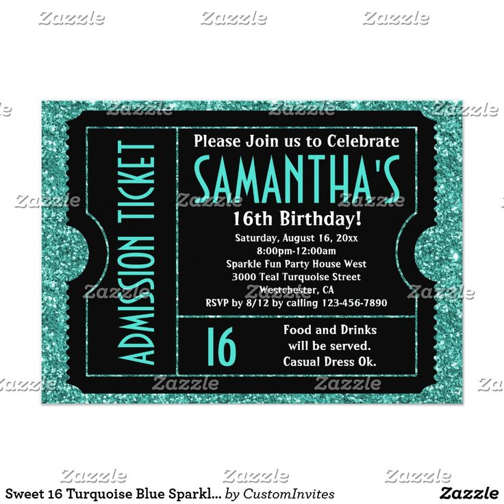 Sweet 16 Turquoise Blue Sparkle Ticket Card Ticket Invitations, turquoise teal blue glitter sparkle image with black background for the sixteenth birthday party girl or any age! Great to use for any age girl, teen or women's feminine birthday party invitations. Customize with your party info. Makes a great, unique invite for any occasion! Styled to resemble a real movie or concert admission ticket with faux cutouts and faux perforated sides, this bold and fun invite is cool and awesome!