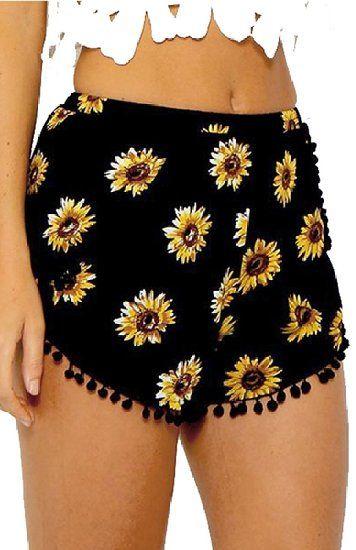 Minetom Damen Jumpsuits Sommer Ärmellos Sexy Backless V-Ausschnitt Sonnenblumen Print Hosen Overall Kurze Shorts ( Hosen DE 34 )