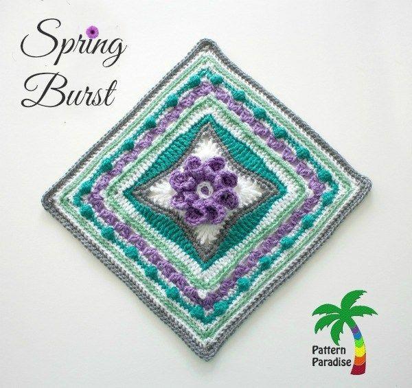 Spring Burst Square Crochet Square by Pattern-Paradise.com