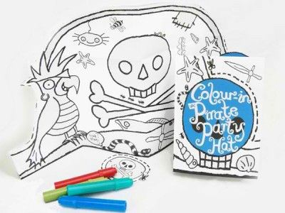 Colour in pirate hat - $4.95. Available from: http://pennyfarthingkids.com.au/product-category/kids-2/ #penny #farthing #kids #gifts