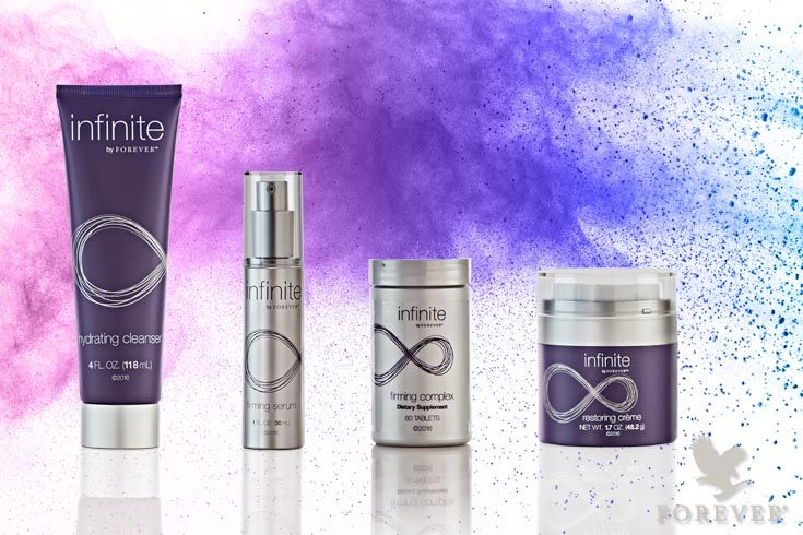 Infinite by Forever is a complete anti-aging skincare set for men and women. The set contains four products that work together perfectly: hydrating cleanser, firming serum, restoring crème and firming complex. This powerful skincare helps reduce the appearance of fine lines and wrinkles and gives a radiant, hydrated skin. Infinite by Forever is based on aloe vera and is reinforced with various plant extracts. #infinite #infinitebyforever #skincare #antiaging