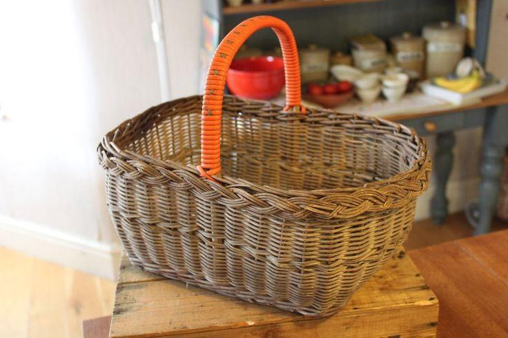 Vintage Wicker Shopping Basket – Orange Plastic Trim – Kitchenalia – Retro! -