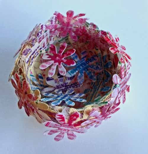 Joan Martin - Blog - ProblemBowls - made out of leaflets that the local herbalists hand out in the streets