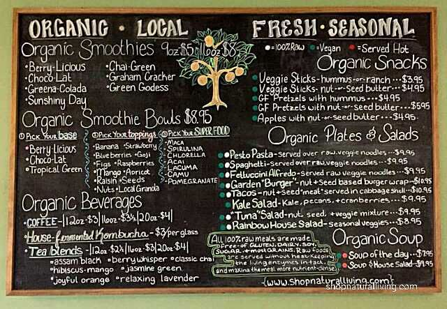 Picture of Natural Living's new vegan cafe menu