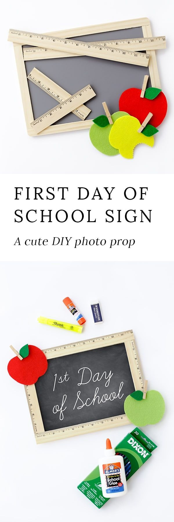 Take first day of school photos you will cherish forever with this easy DIY First Day of School Sign. It's perfect for home or school! via @https://www.pinterest.com/fireflymudpie/