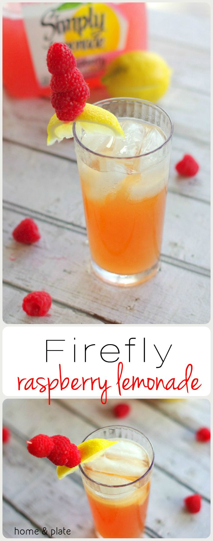 Firefly Raspberry Lemonade Cocktail | Home & Plate | www.homeandplate.com | Sweet tea vodka and raspberry lemonade make a delicious summer cocktail.