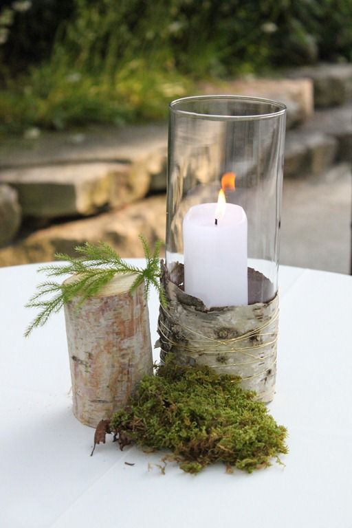 Candles, Moss, Birch Bark