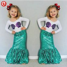 3-7Y Autumn Toddler Children's Girls Mermaid Tail Costume Clothing Sets Long Sleeve Shell T shirt+Dress Kids Outfits Christmas(China (Mainland))