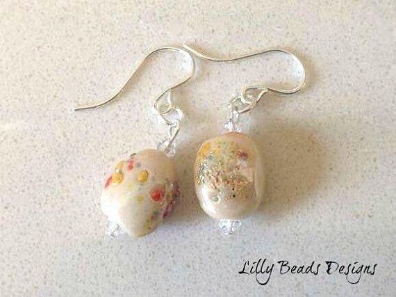 Dangle Earrings,Drop Earrings,Lampwork Earrings,Beige Earrings,Glass Earrings,Small Earrings,Lampwork Glass,Lampwork Beads,Sterling Silver