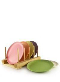 Set van 6 bordjes van Zuperzozial, gemaakt uit bamboe en maisvezels. Kleurrijk, vrolijk en trendy én een duurzaam alternatief voor plastic.