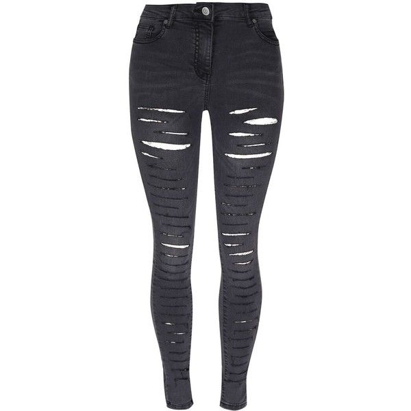 Extreme ripped ladies jeans charcoal grey Ladies fitted jeans (£40) ❤ liked on Polyvore featuring jeans, pants, charcoal jeans, destroyed jeans, distressed jeans, distressing jeans and ripped jeans