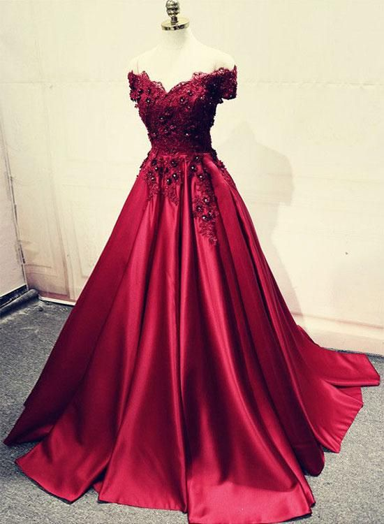 400bf4cabad21 Elegant A-Line Off-Shoulder Burgundy Satin Long Prom Evening Dress with  Appliques sold by dressthat on Storenvy