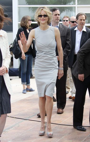 Meg Ryan Day Dress - Meg showed off her classic style while out and about in Cannes in a grey day dress.