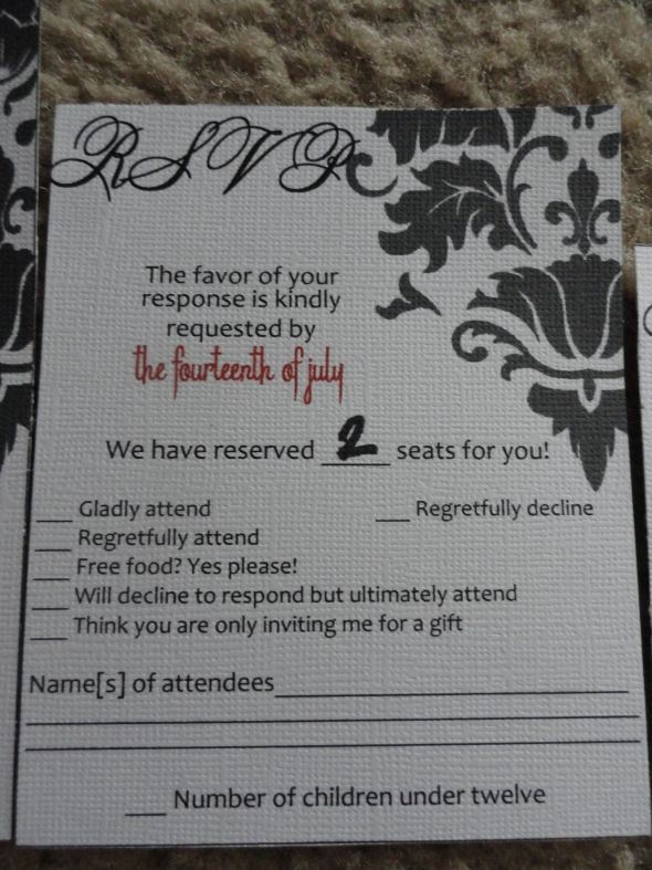 RSVP Cards (don't like the wording.. but this is the way to know that only the number you plan on asking is responded for)