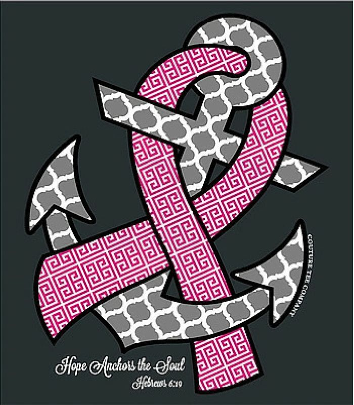 Southern Couture Christian T-Shirt | Breast Cancer Awareness Tee | Hope Anchors the Soul | Hebrews 6:19