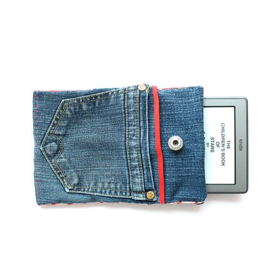 Jeans e reader, tablet cover - easy sewing for beginners, kindle, sony, nook, iPad cover via Etsy