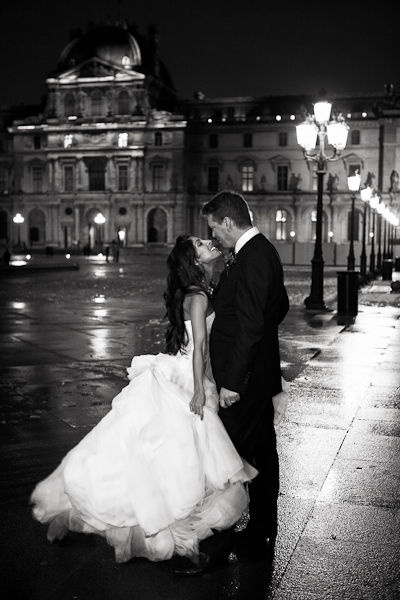 Night time Paris wedding shot