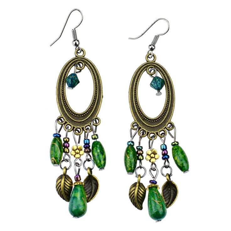 ER375 Antique Bronze Bohemia Round Colorful Beads Vintage Earrings For Women Lady 2015 New Jewelry Bijouterie
