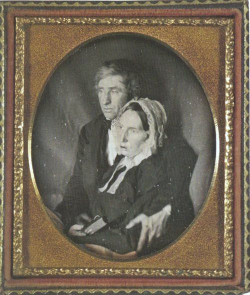 ca. 1845, [portrait of a gentleman holding his dead wife]