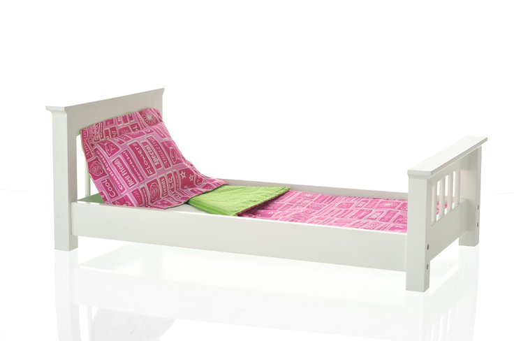 "Doll Single Bed - Craftsman Style with Hot Pink & Green Apple Linens >> Our Craftsman style doll single bed with hot pink and green apple linens. Our doll beds fit American Girl, all other 18"" & 20"" dolls, and the occasional cat as well. Made of real wood, with cotton linens, and non-toxic. #AmericanGirl #AG #LaurentDoll"