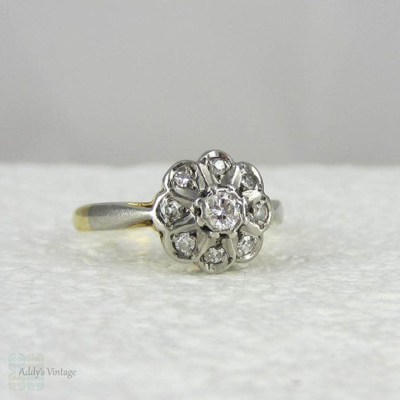 RESERVED Art Deco Diamond Cluster Ring Flower Shaped Daisy Engagement Ring