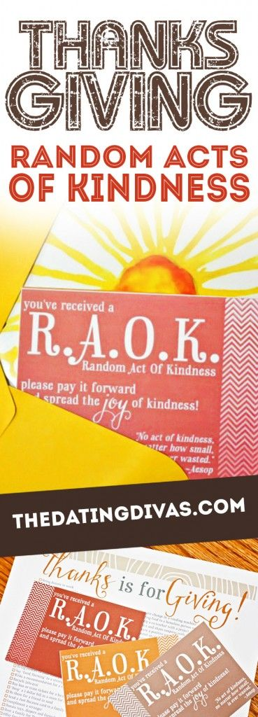 Thanksgiving Random Acts of Kindness! Fun Thanksgiving activity from The Dating Divas!