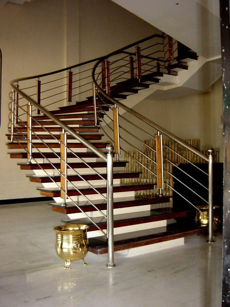 Decoration, Splendid Curve Spiral Stairs With Wooden Stair Foot As Well As  Modern Style For Stainless Steel Handrail Designs In Contemporary.