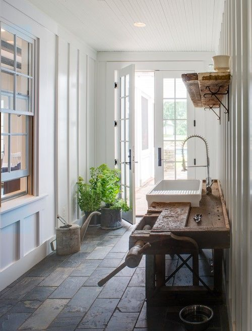 Mud/potting room in a McLean farmhouse, VA. Donald Lococo Architects.