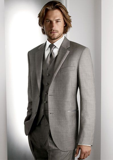 Groom and groomsmen tuxedo. Grey Legend by Calvin Klein