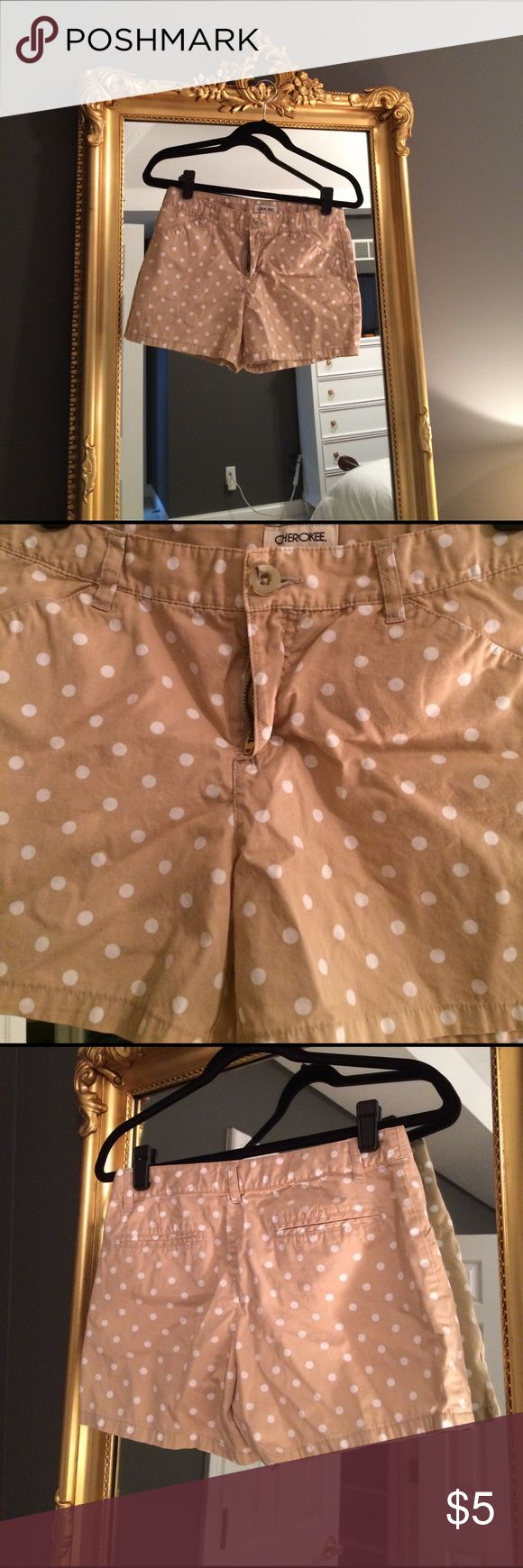 Cherokee girls polka dot shorts, xl 14-16. Adorable khaki and white polka dot shorts from Cherokee girls at Target. Even though from girls section, I wore. Very good condition! Girls xl 14-16. (I wore so fit women's 0, 00) Cherokee Bottoms Shorts