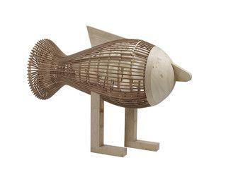 Lampada da terra fatta a mano in legno FISH LS - LZF