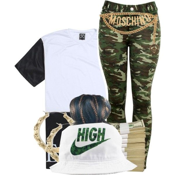 A fashion look from November 2014 featuring camo pants, hoop earrings and bucket hat. Browse and shop related looks.
