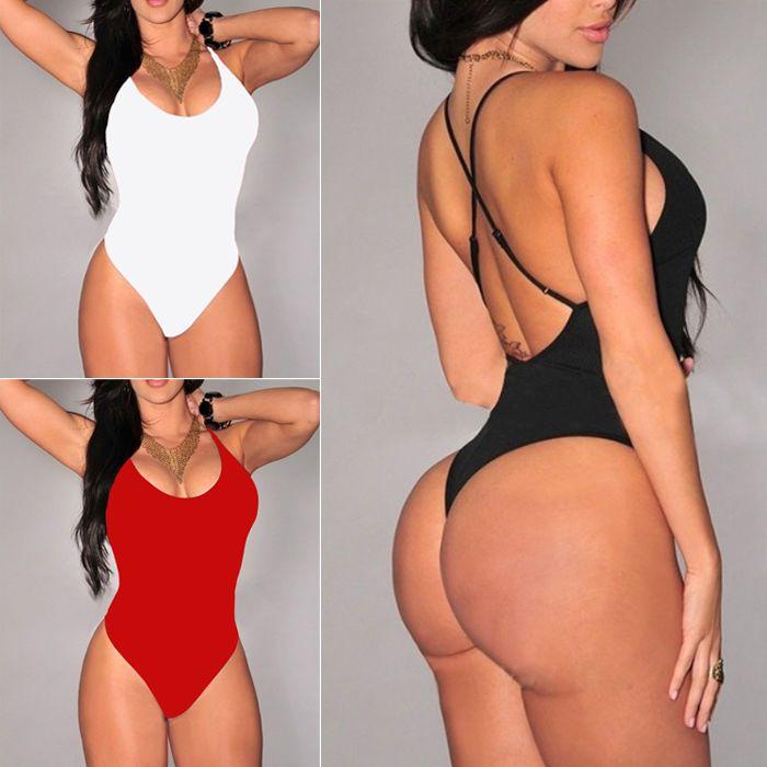 Womens Ladies Jumpsuit Sleeveless Stretch Leotard Bodysuit Swimwear Top Blouse