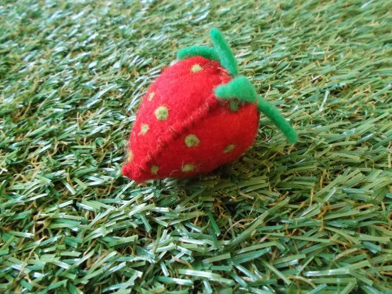 Felt Strawberry by LoveandSqualorCrafts on Etsy, $6.00