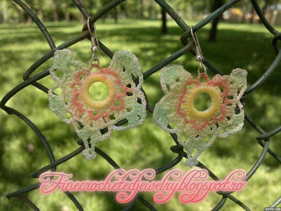 Unique Lace Crochet Earrings colorful for by FineCrochetedJewelry, $16.00
