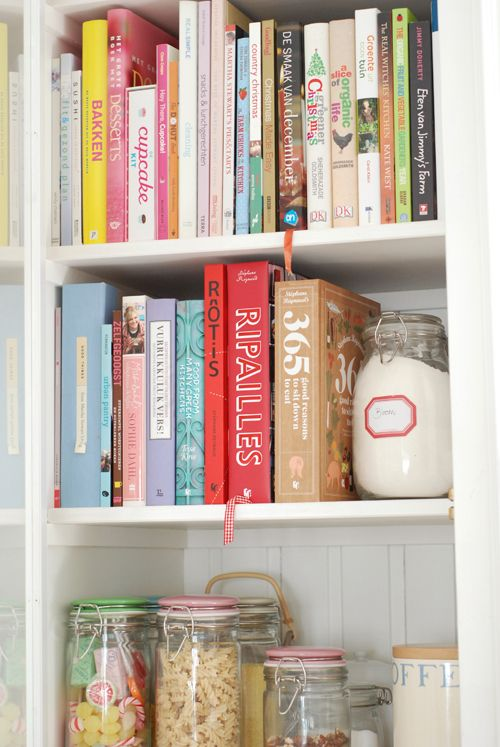 This is just so pretty, I love shelves of cookbooks. Mines looks very sad, all very dull and dark.