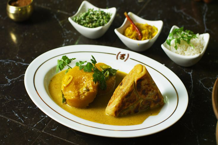 Pumpkin curry with brinjal rotti