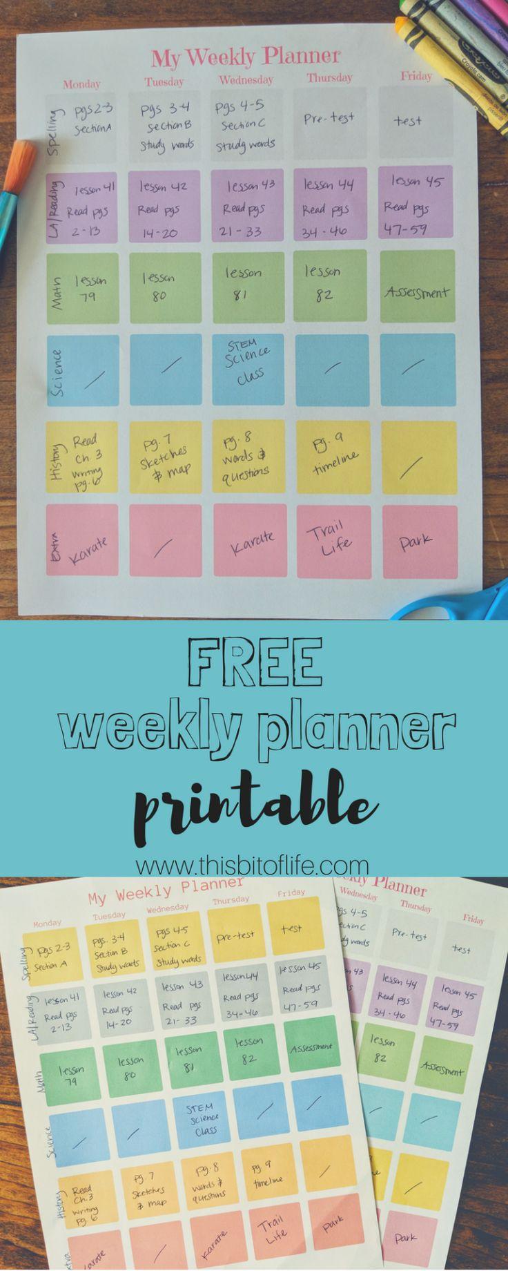 Free Homeschool Planner Printable This Bit of Life in