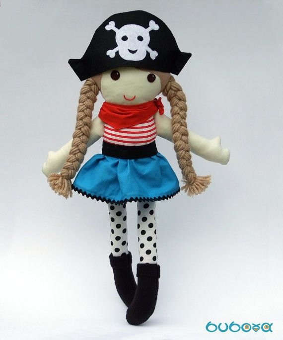 Pirate Girl Fabric Doll With Removable Hat and Skirt