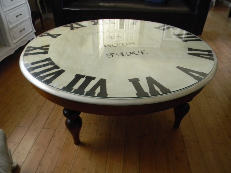 My coffee table I painted to look like a clock and stenciled the words ALL  IN - 82 Best Images About Coffee Table Clock On Pinterest Clock Table