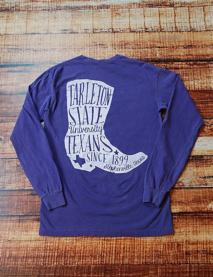 Boot scootin boogie in this awesome new Tarleton State Univeristy long-sleeve t-shirt You know you wanna look super cute in this tee Go Texans